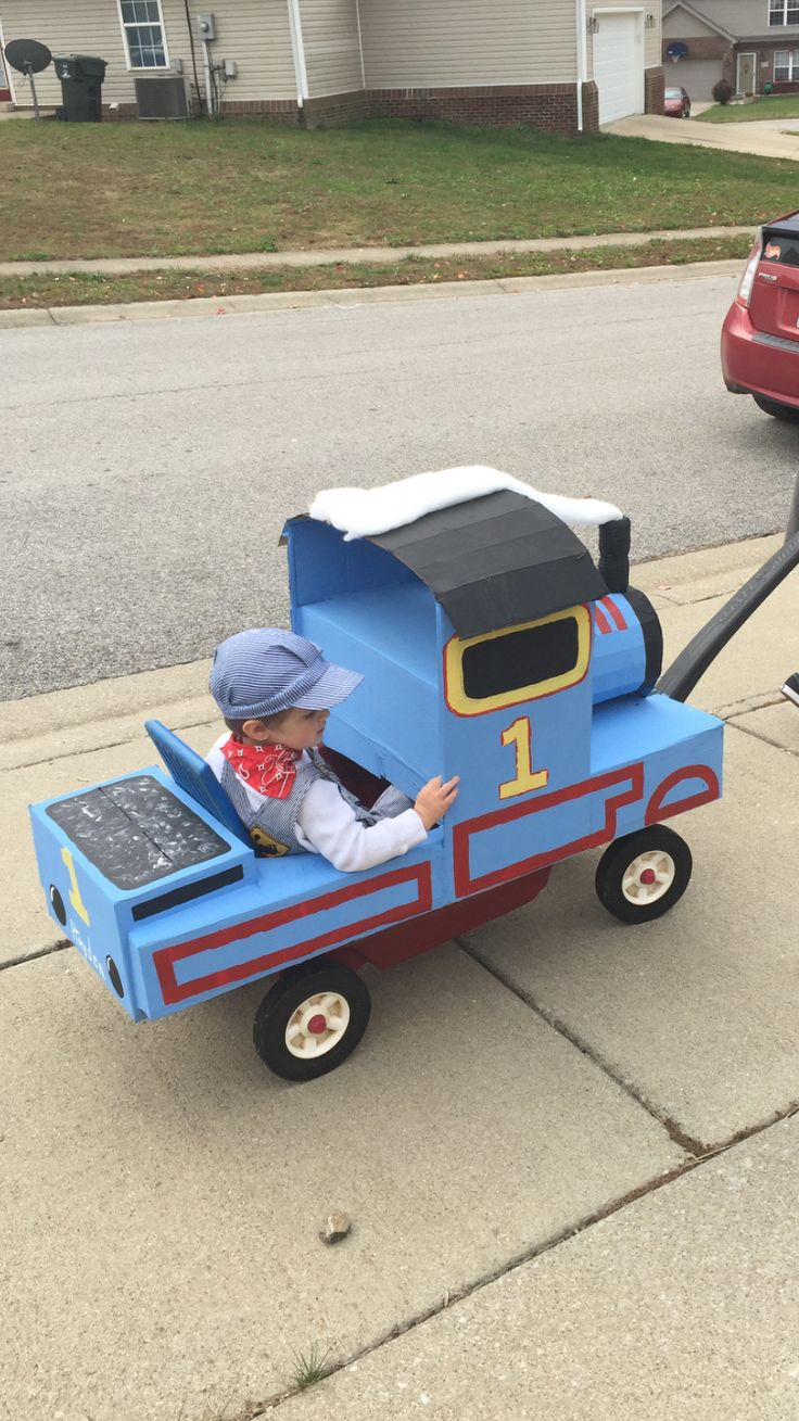 Thomas the Train Halloween Costume made from a wagon and cardboard!
