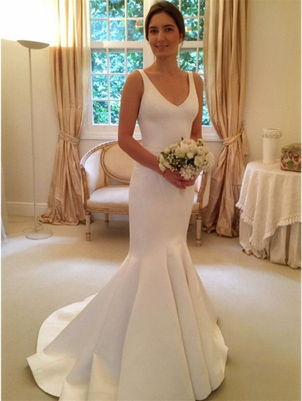 Simple Mermaid V Neck Wedding Dresses 2016 Satin Bridal Gowns
