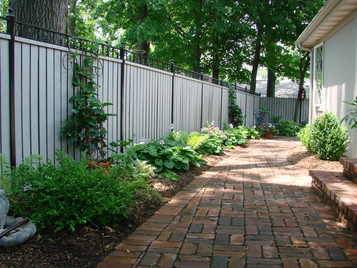 Landscaping along fence and pavers outdoor spaces pinterest landscapes landscaping along - Landscaping along a fence ...