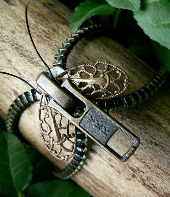 Steampunk Moth Zipper Bracelet