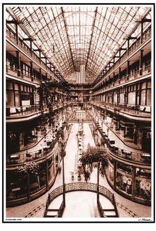 """The Old Arcade    This photo captures possibly the most beautiful building in downtown Cleveland. Sepia, signed by well-known local artist Jim Ptacek. 18""""x24""""  $25.00"""
