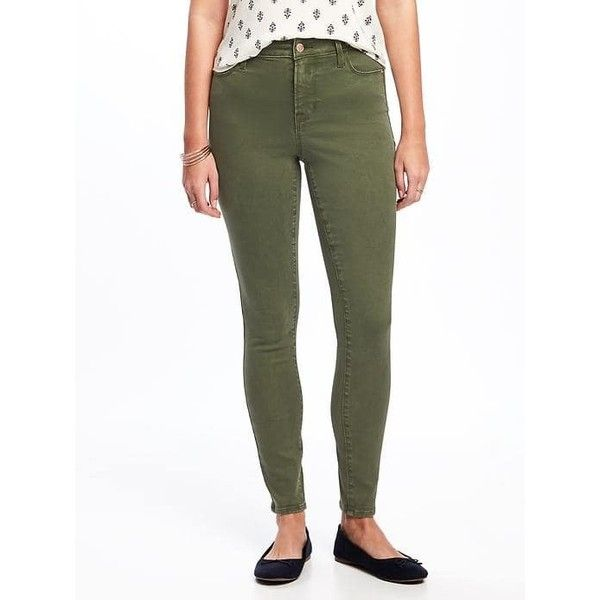 Old Navy Womens High Rise Rockstar Skinny Jeans ($30) ❤ liked on Polyvore featuring jeans, i think olive, petite, high rise white skinny jeans, white skinny jeans, skinny jeans, petite white skinny jeans and high waisted stretch jeans