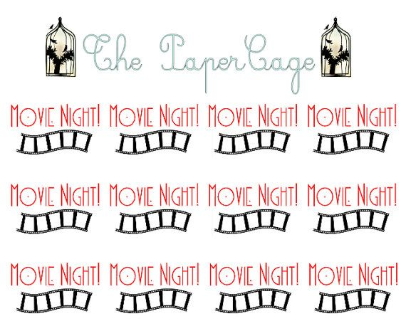 Movie Night Planner / Calendar Stickers by ThePaperCage on Etsy