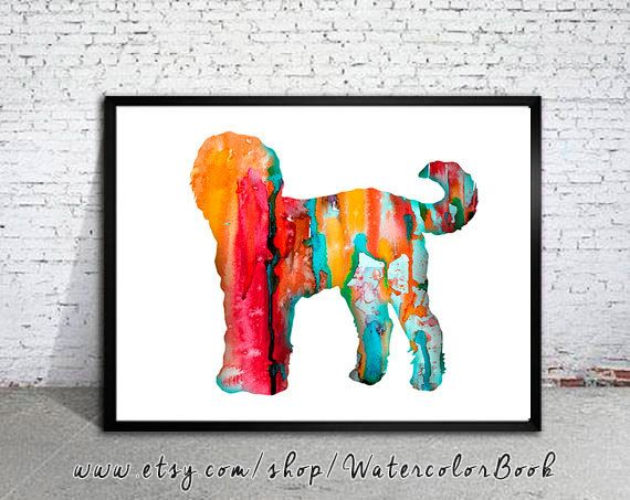 Goldendoodle 4 Watercolor Print Goldendoodle Art by WatercolorBook