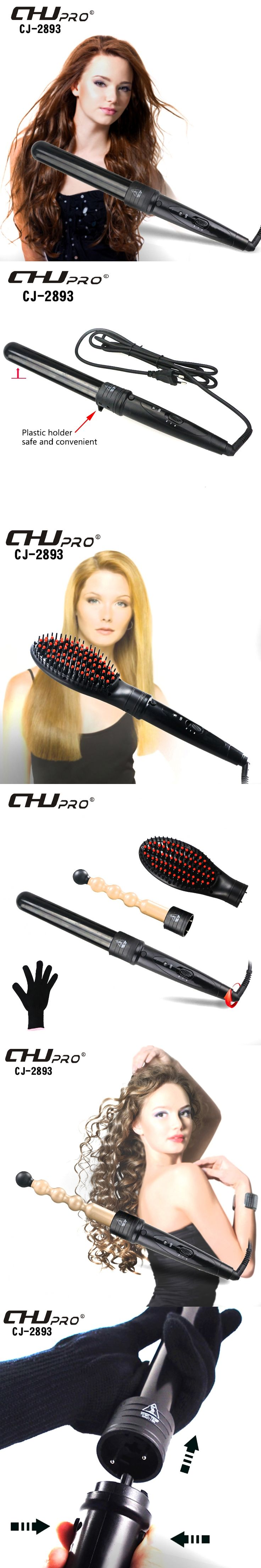 Ceramic Curling Iron Interchangeable Hair Curler Set With Electric Straightening Combs Curling Wand Styling Tool