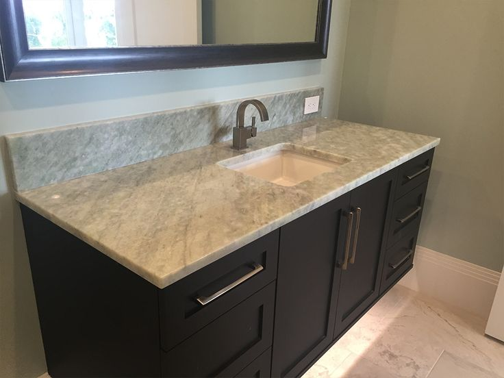 Bathroom Countertops Product : White and beige granite countertop with black modern