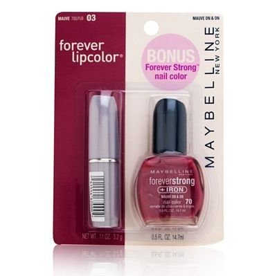Maybelline Forever Lipcolor with Bonus Forever Strong +Iron Nail Color 03 Mauve/70 Mauve On & On $3.99: Forever Strong, Woman Things, Iron Nails, Strong Iron, Maybelline Forever, Nails Color, Forever Lipcolor, Strong Nails, Bonus Forever