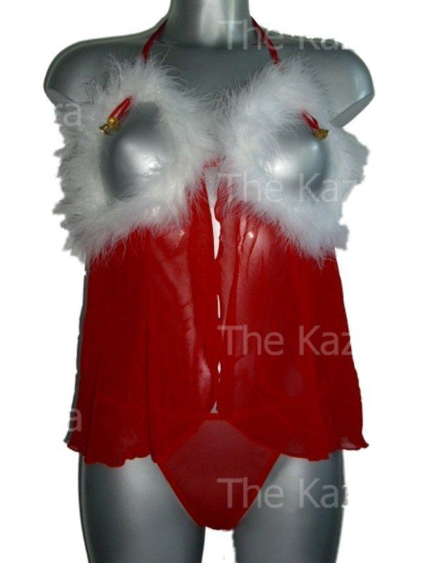 Christmas Peep Hole Open Front Babydoll & Thong 10 - 16 New Ladies Naughty Sexy