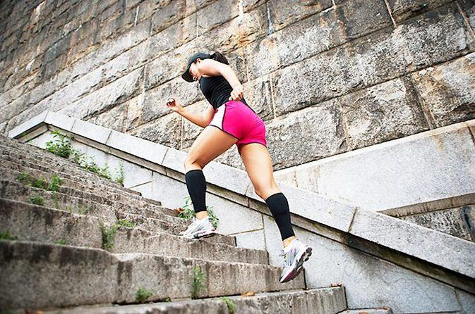 Turn Your Stairs Into a Fat-Burning Machine 1. Warm-Up 2. Stairway Sprints 3. Push-Ups 4. Standing Rows 5. Biceps Curls 6. Triceps Toners 7. Cardio Interval 8. Body-Weight Squats With Overhead Reach 9. Body-Weight Squats With Alternating Arm Reach 10. Alternating Lunges 11. Rest and Recover