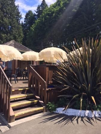 View of the outside patio coming up from the beach, The Beach Hut, Qualicum Beach, BC