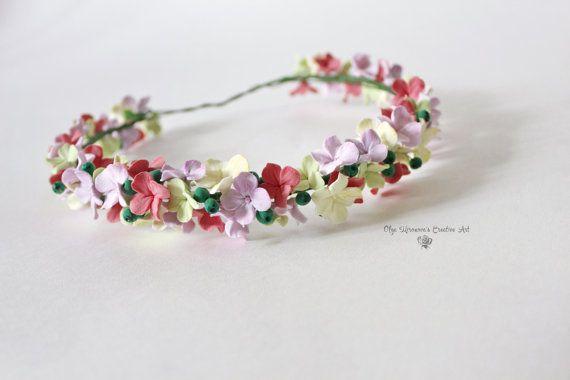 Hydrangea flower crown Floral crown Bridal halo Wedding floral headband Pastel headband Floral halo Flowergirl crown Flower headpiece