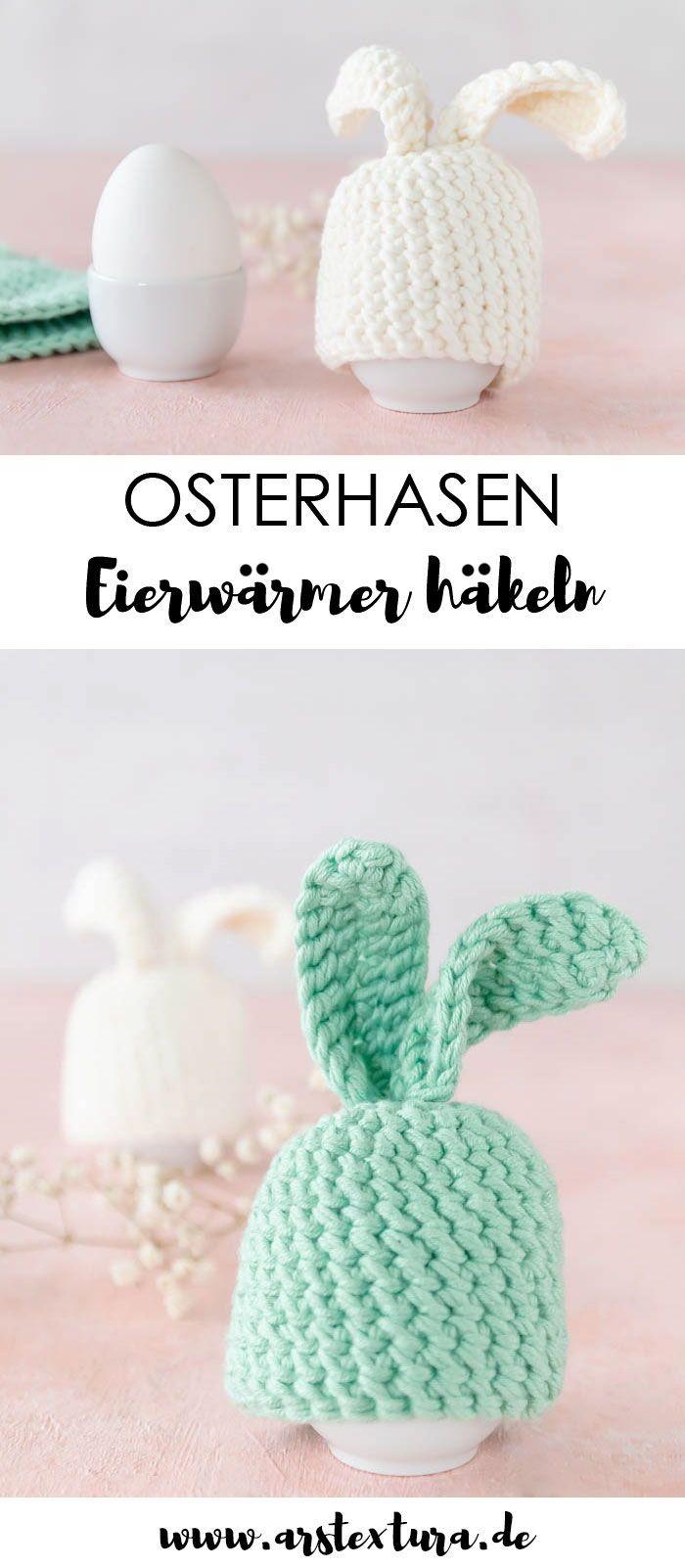 Paasdecoratie: haak paashaas eierwarmer als een geweldige decoratie voor de paasbrunch …  – Häkeln – Crochet