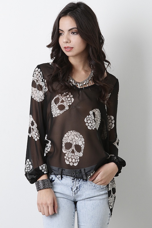 Blooming Skulls Top $29.60 (a favourite gothic punk clothes repin of VIP Fashion Australia )