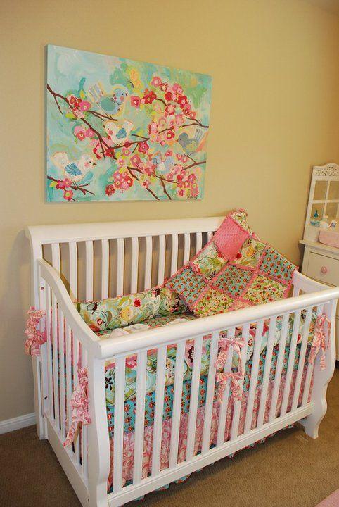 Pink and teal nursery print, love it!