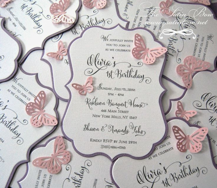 Die Cut First Birthday, Baptism, Christening Invitation with Butterfly Cutouts in Pink and Purple Butterflies - By The Satin Bow - www.satinbow.blogspot.com