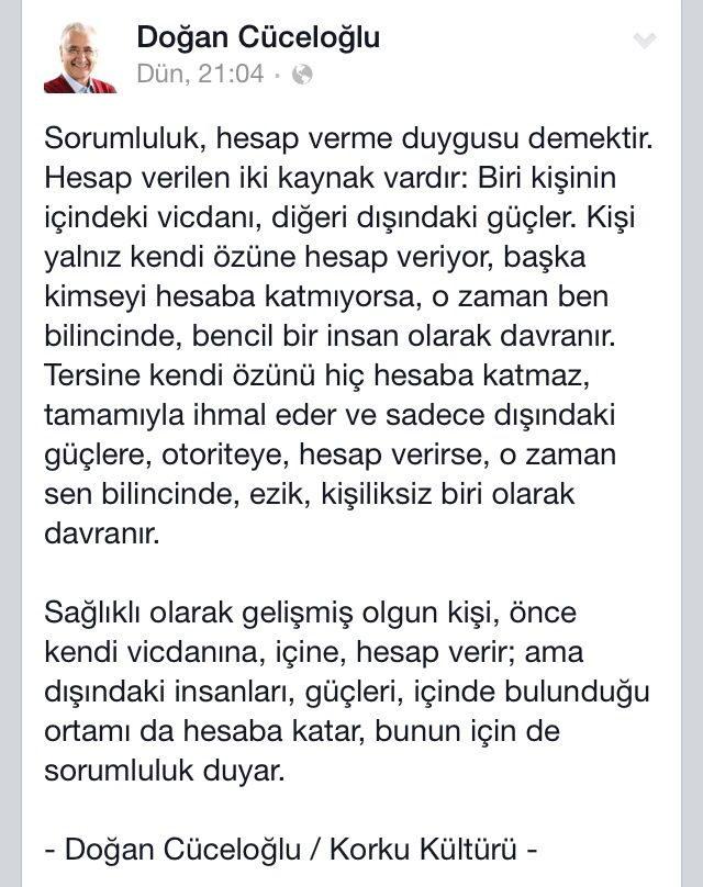 Doğan Cüceloğlu / Facebook alıntıdır SORUMLULUK....