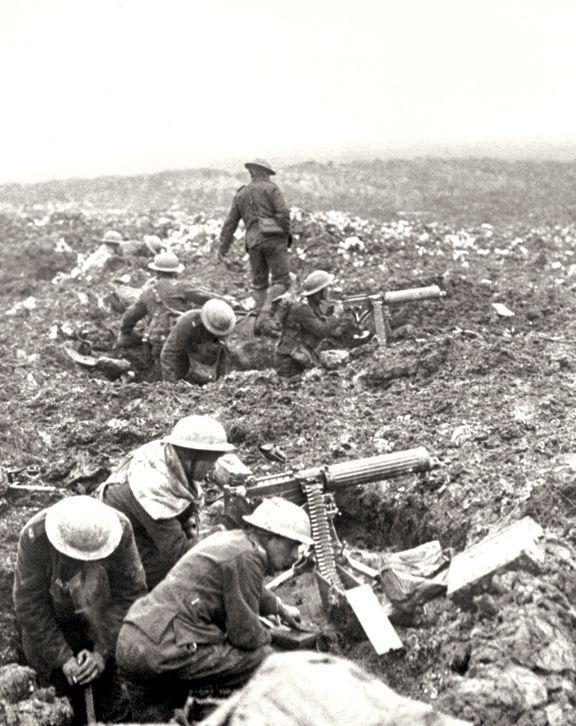 Canadian Vickers machine-gun crews prepare to sweep the front at Vimy Ridge, April 1917 PHOTO: LEGION MAGAZINE ARCHIVES