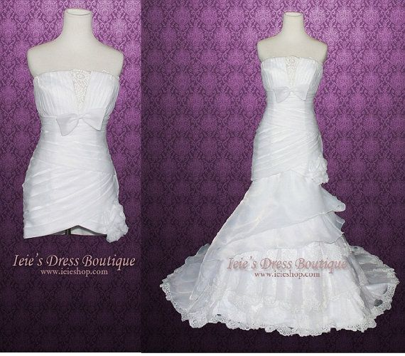 Convertible Wedding Gown Detachable Skirt: Convertible Fit And Flare Organza Tiered Wedding Dress
