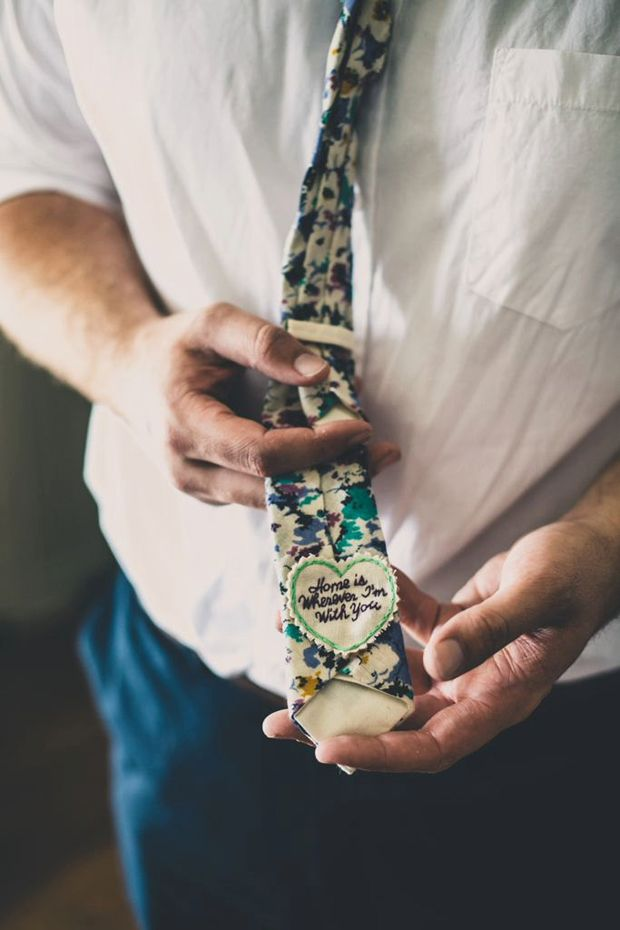 wedding morning gift ideas - personalised tie with 'Home is Wherever I'm With You'
