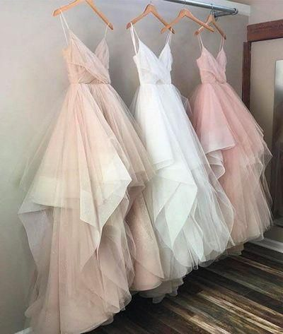 ball gown pink tulle long prom dresses modest Prom Dress PD20190677