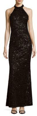 BCBGeneration Knit Embroidered Evening Dress
