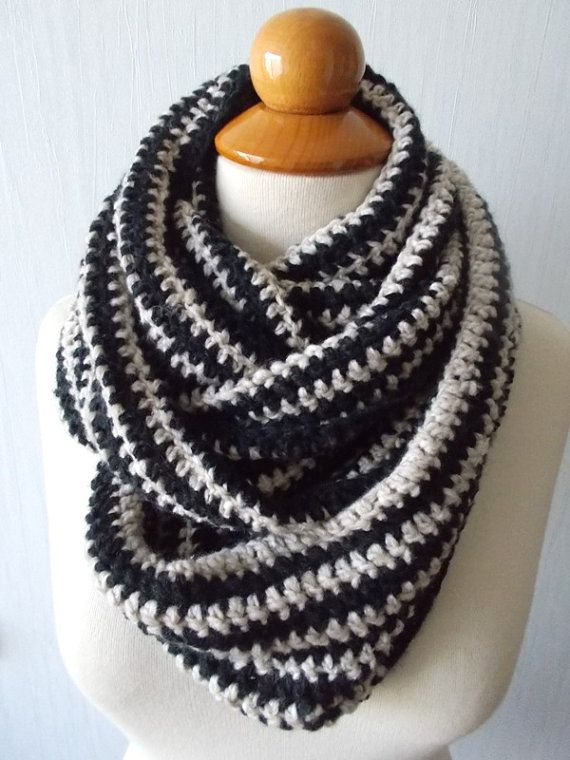 Big Black and Beige Infinity Scarf for Women Men by LaimaShop, $60.00