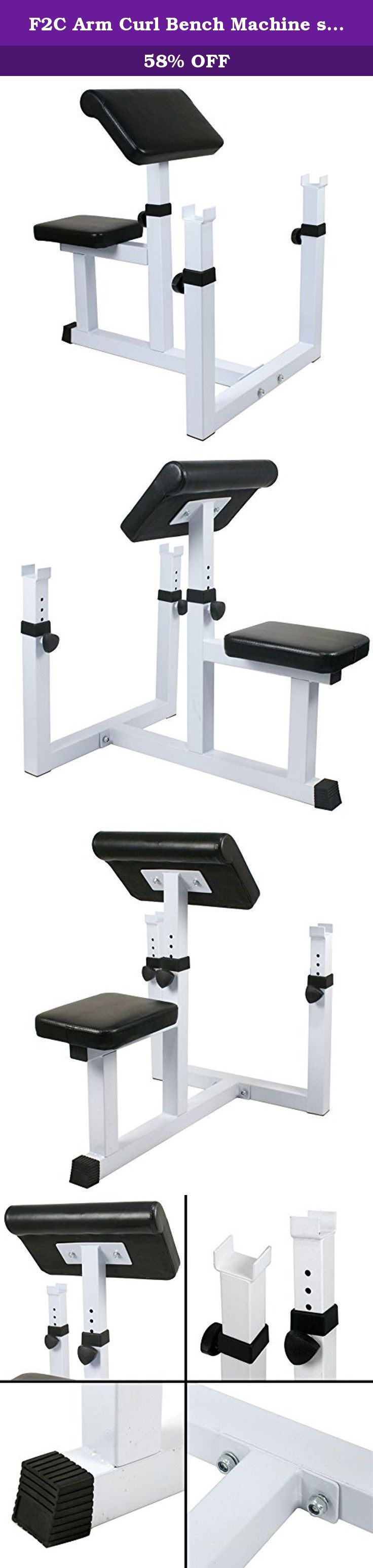"""F2C Arm Curl Bench Machine seated Commercial Preacher Dumbbell Biceps Home Gym (Machine Biceps Curls). Specifications: Weight: 33 lbs Max loading: 440 lbs 50*50*2.0mm tube size Thickness of the pad: 2"""" Size of the Pads:15"""" x 10"""" , 14"""" x 9.5"""" Whole Size: 29.5""""(L) x 24""""(W) x 35""""(H) Bar rest adjustment: 18"""" - 22""""(H) Arm rest adjustment: Five-position 31"""" - 35""""(H) Package include: 1 x Arm curl bench (need assembled) The Arm Curl Bench allows you to put more intensity into working your biceps…"""