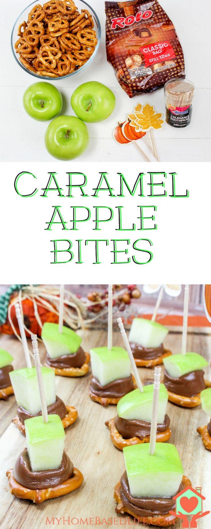 Caramel Apple Bites. The Perfect Apple Season Fall Snack! Caramel Apple Bites | Apple Desserts | DIY Caramel Apples | Mini Caramel Apples | Caramel Apple Recipe | Fall Apple Recipe | Apple Recipe | via @myhomebasedlife