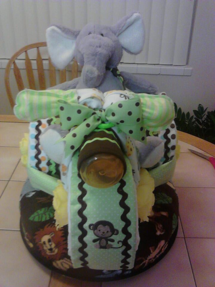 Front view of Safari Diaper Cake