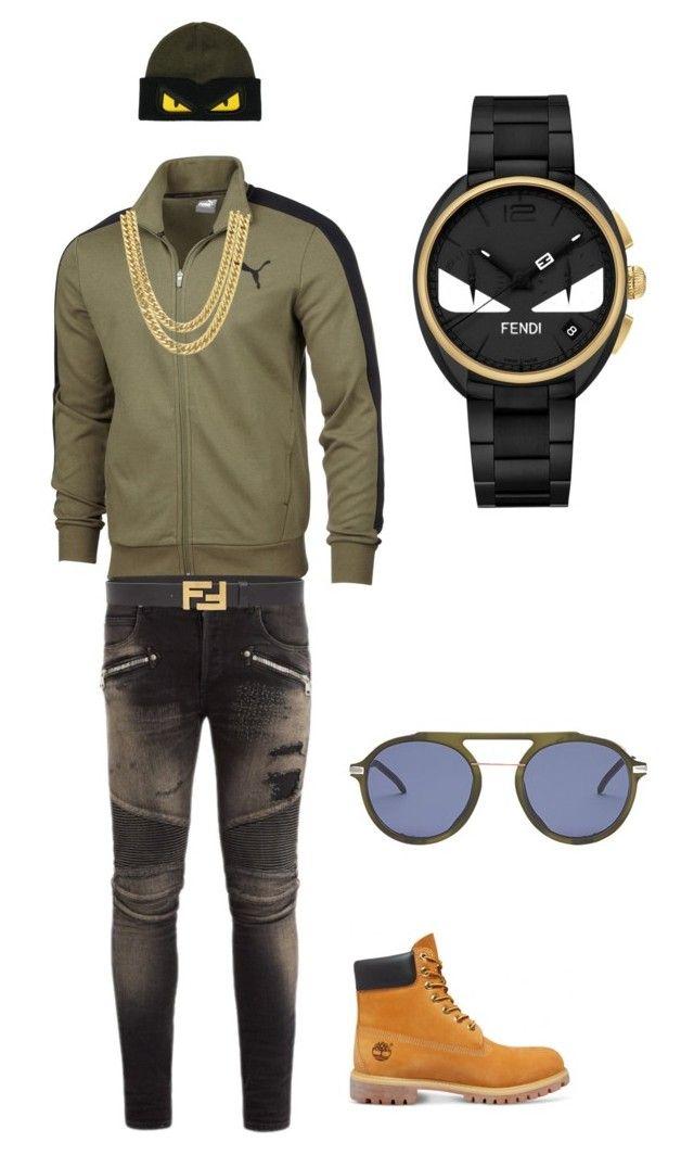 Untitled #78 by tikitress on Polyvore featuring Balmain, Puma, Timberland, Fendi, men's fashion and menswear