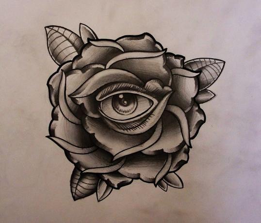 Best Grey Flowers and Illuminati Eye Tattoo Design