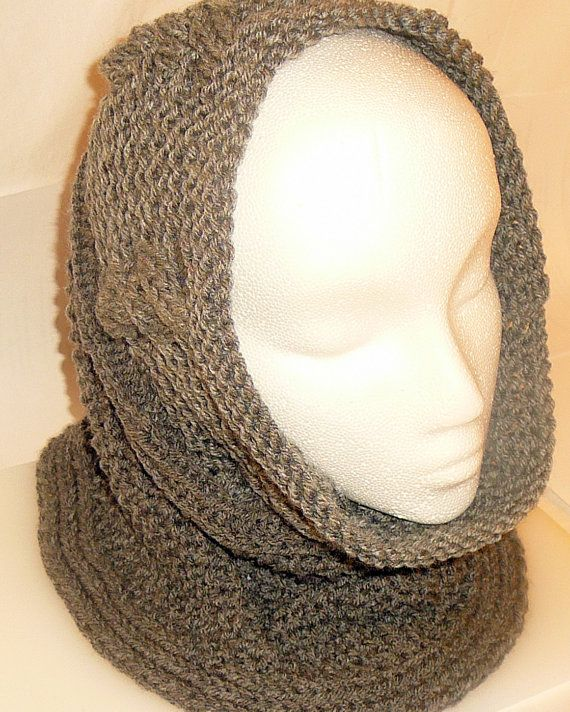 Gray  Hand Knitted Cowl Infinity Scarf Scarves by HandmadeTrend, $25.00