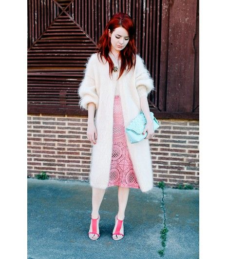 @Who What Wear - Jane Aldridge of Sea of Shoes  vintage sweater; Burberry skirt and clutch.