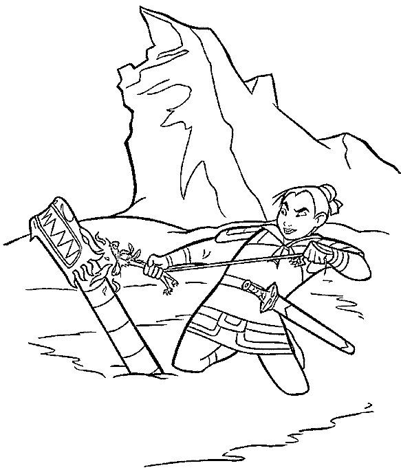 Mulan Color Page Disney Coloring Pages Plate Sheet Printable