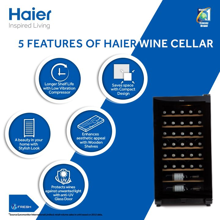 Take your wine experience to a whole new level. Enhance the beauty in your home with #Haier's latest & stylish #WineCellars. #HaierIndia #InspiredLiving #Technology #Lifestyle #Innovation
