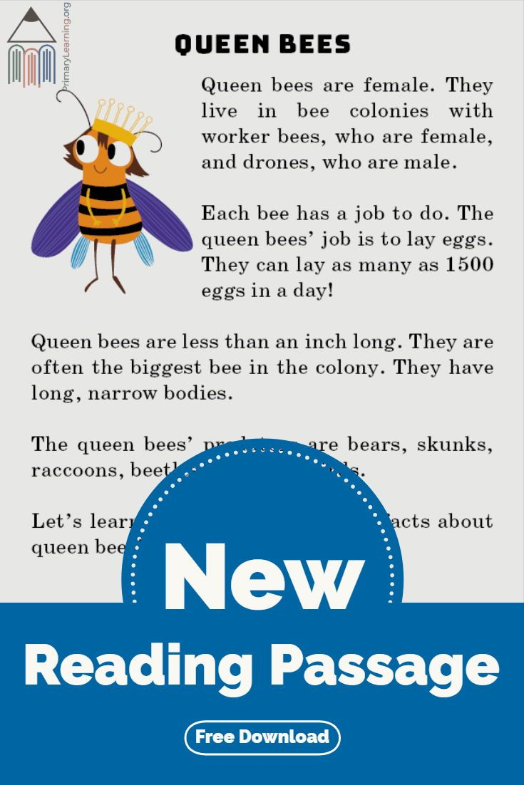 Queen Bee Reading Passage Primarylearning Org English Stories For Kids Reading Passages Cloze Passages [ 1102 x 735 Pixel ]