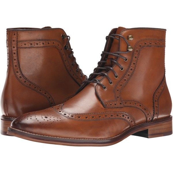 Johnston & Murphy Conard Wingtip Boot (Tan Calfskin) Men's Dress... ($123) ❤ liked on Polyvore featuring men's fashion, men's shoes, men's boots, tan, mens short boots, mens tan shoes, mens shoes, mens wingtip boots and ankle boots mens shoes