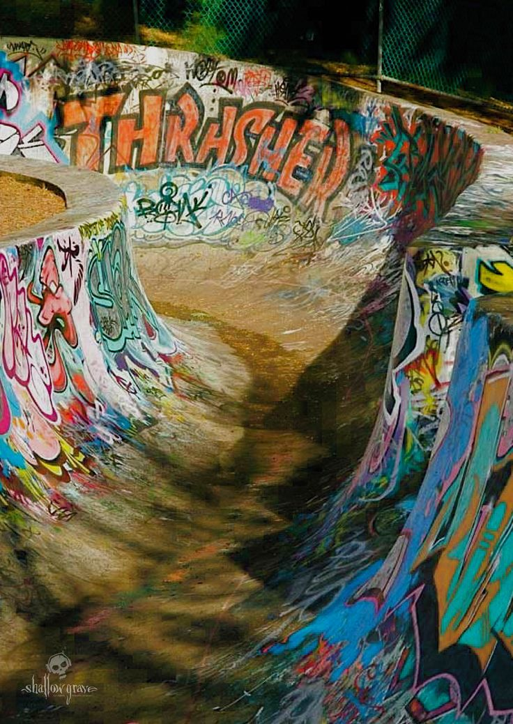 Thrasher... the last big transition to hit before you enter the bowl. This mega iconic piece of graffiti has been a major feature of our 'snake run', since the early 80's. The original artist responsible... 'Chopper Pat' and back then it was the largest single hit anyone had ever done up there. I will track down & pin one of my old photos of the original design.... The Bowl, West Hobart, Tasmania. 1992.