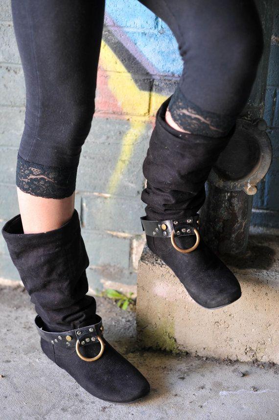 Black and Brass Boot Belts by Spunkhyde on Etsy