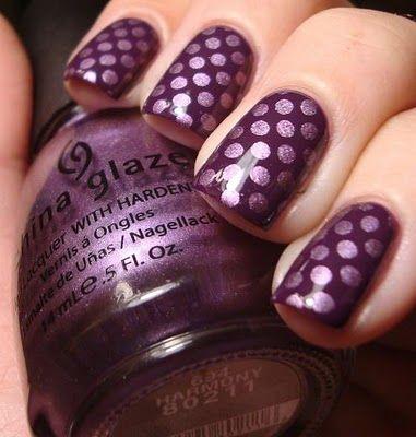 Purple polka dot: Polka Dots, Nailart, Nail Design, Nails, Purple Polka, Nail Art, Purple Dot