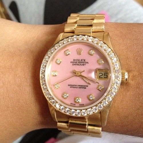 Pink and Gold Rolex- Some day....: Pink Faces, Rolex Watches, Style, Clothing, Things, Jewels, Accessories, Pink Rolex, Pink Diamonds