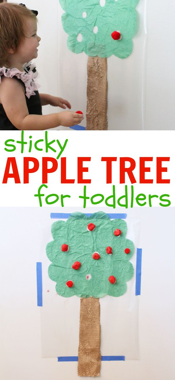 Sticky Apple Tree for Toddlers:  Such a fun way to practice fine motor control and hand-eye coordination!