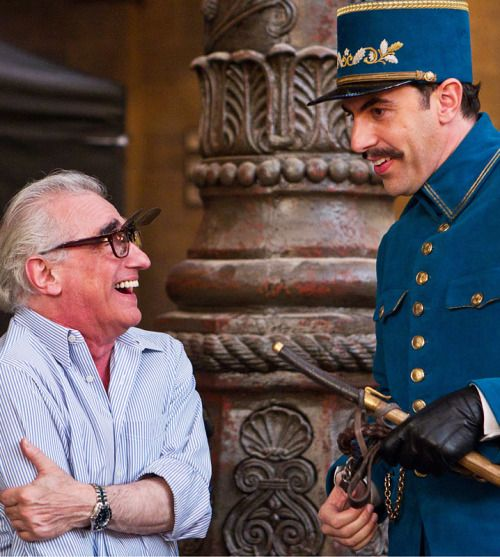 Martin Scorsese & Sacha Baron Cohen on the set of Hugo