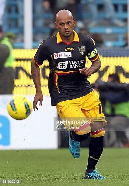 Ruben Olivera of US Lecce in action during the Serie A match between AC Cesena and US Lecce at Dino Manuzzi Stadium on November 6 2011 in Cesena Italy