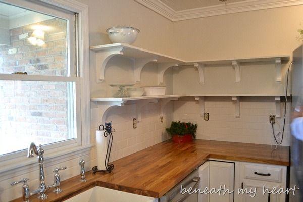 White Cabinet Kitchen Butcher Block Wall Tangerine Colors
