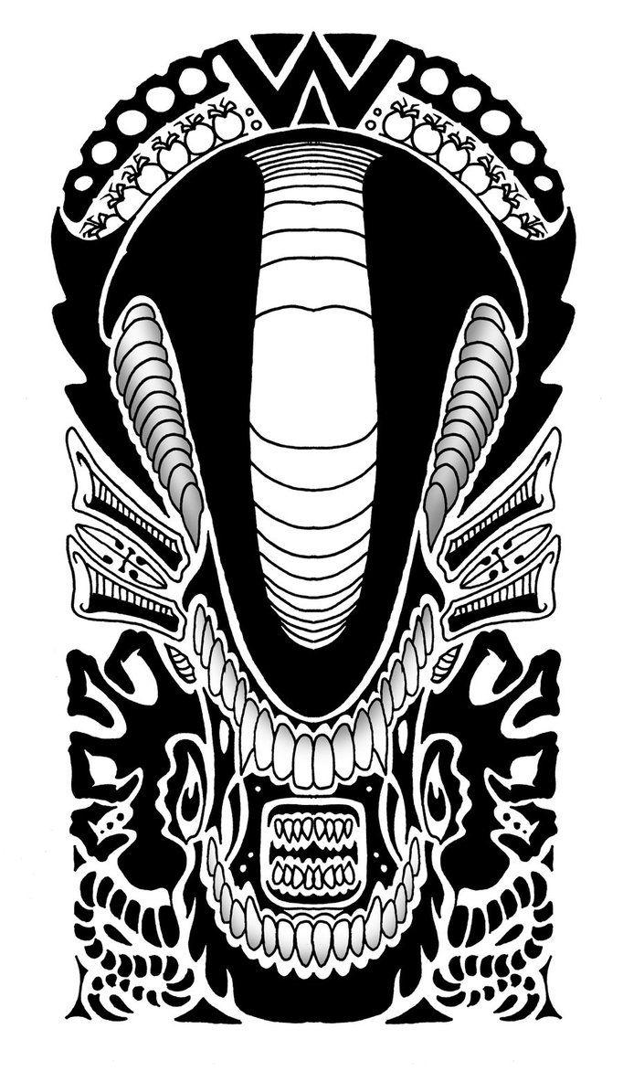 alien polynesian tribal design by yayzus tattoo ideas pinterest art polynesian tribal. Black Bedroom Furniture Sets. Home Design Ideas