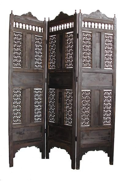 Great Dark Wooden Mosharabia-Folding-Screen