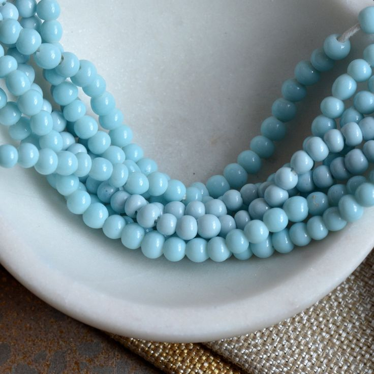 Baby Blue Round Glass Beads, Lamp work Glass Beads, Small Indonesian Seed Beads, Round Blue Glass Beads, One Strand, BB17-0127i SkyBlue