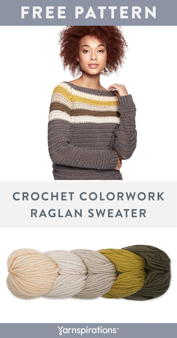 Use Caron X Pantone Yarn To Crochet A Top Down Raglan Sweater With A