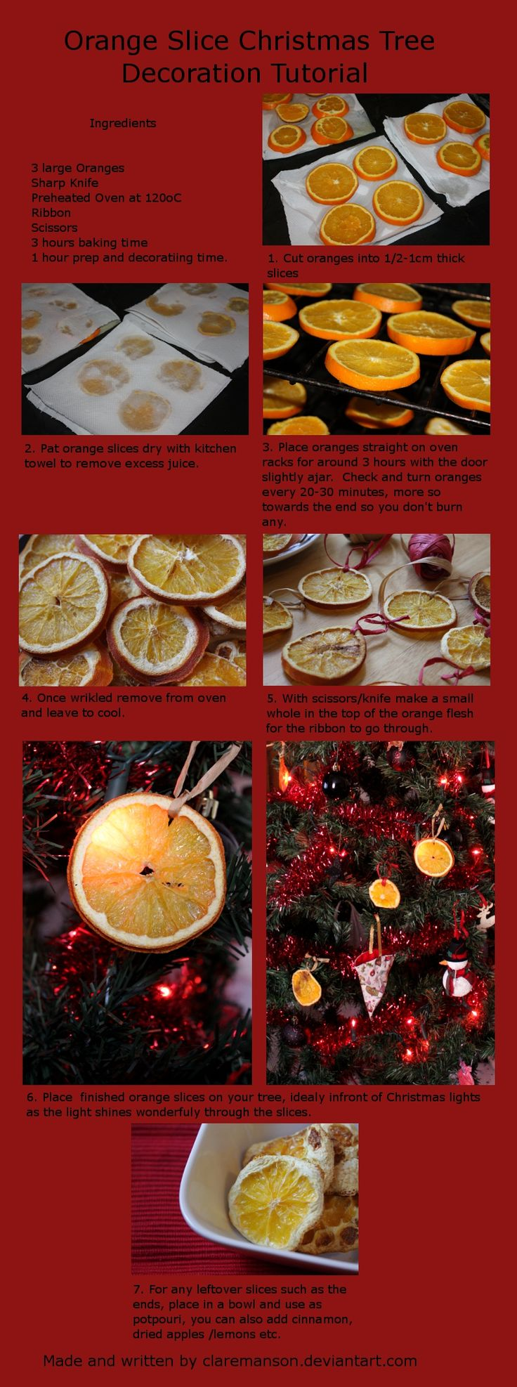 Orange Slice Christmas Tree Decoration Tutorial by claremanson.deviantart.com